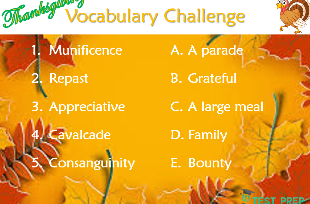 Answers to Thanksgiving Vocabulary Challenge