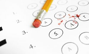 SAT multiple choice test with pencil eraser