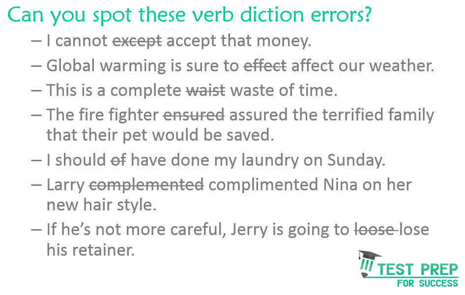 Verb Diction error Answer key