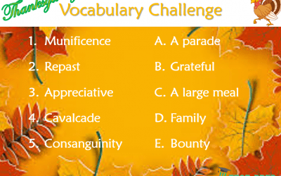 Answers to the Thanksgiving Vocabulary Challenge
